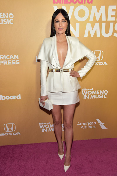Kacey Musgraves Skirt Suit [billboard,clothing,white,fashion model,cocktail dress,fashion,red carpet,shoulder,leg,carpet,dress,pier 36,new york city,13th annual women in music event,kacey musgraves]