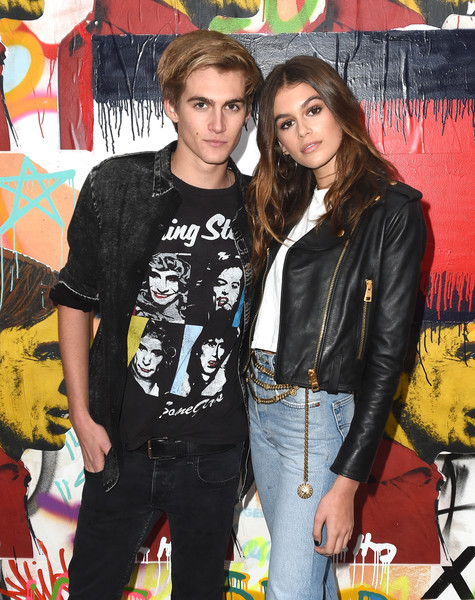 Kaia Gerber Metallic Belt [event,jacket,cool,outerwear,jeans,black hair,leather jacket,tommyland,tommy hilfiger,presley walker gerber,kaia jordan gerber,spring 2017 fashion show,atmosphere,venice,california,l,tommy hilfiger spring 2017 fashion show]