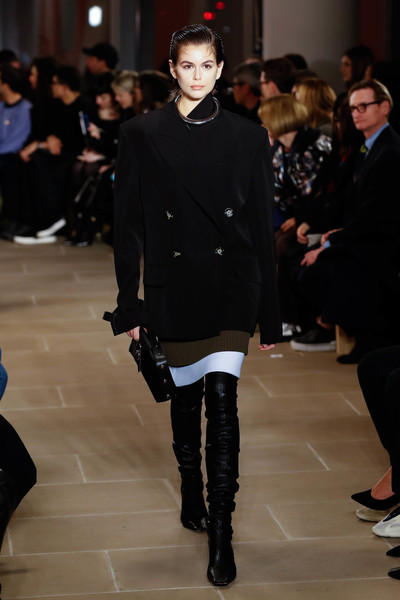 Kaia Gerber Over the Knee Boots [shows,the shows,fashion,runway,fashion show,fashion model,clothing,footwear,outerwear,human,event,coat,kaia gerberwalks,proenza schouler - runway,runway,new york city,proenza schouler,new york fashion week,fashion show,kaia jordan gerber,new york fashion week,new york,runway,fashion show,fashion week,gigi hadid,fashion,model]