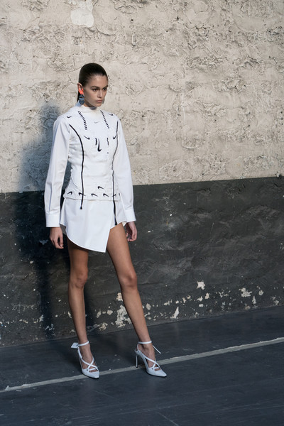 Kaia Gerber Mini Dress [white,clothing,street fashion,fashion,fashion model,beauty,standing,fashion design,footwear,denim,kaia gerber,part,paris,france,off-white,backstage - paris fashion week womenswear spring,show]