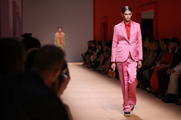 Kaia Gerber Pantsuit [salvatore ferragamo,kaia gerber,fashion,runway,clothing,fashion show,red,suit,fashion design,pink,fashion model,event,milan fashion week,show,milan fashion week spring,runway,milan,italy]