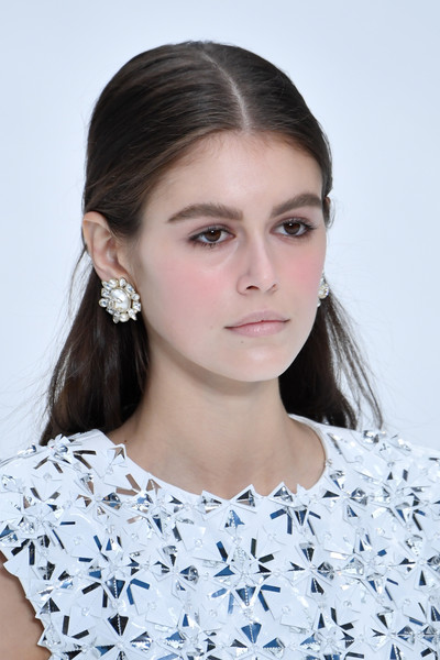 Kaia Gerber Half Up Half Down [hair,face,hairstyle,eyebrow,lip,beauty,skin,chin,shoulder,fashion,kaia gerber,runway - paris fashion week womenswear fall,part,runway,paris,france,chanel,show]
