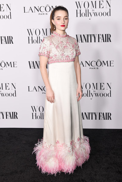 Kaitlyn Dever Empire Gown [dress,clothing,shoulder,pink,fashion model,gown,fashion,hairstyle,a-line,cocktail dress,kaitlyn dever,me women in hollywood,lanc\u00e3,west hollywood,california,soho house,vanity fair,lanc\u00f4me women in hollywood celebration,celebration,dove cameron,hollywood,fashion,vanity fair,beauty,red carpet,booksmart,celebrity,lanc\u00f4me]
