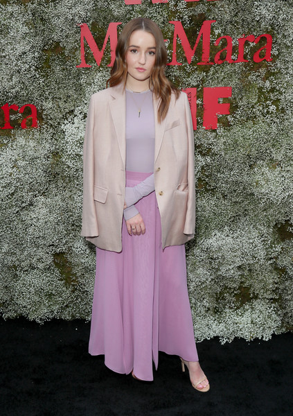 Kaitlyn Dever Long Skirt [instyle max mara women in film celebration,max mara women in film celebration,kaitlyn dever,pink,clothing,fashion,outerwear,formal wear,suit,flooring,dress,premiere,carpet,chateau marmont,los angeles,california,instyle]