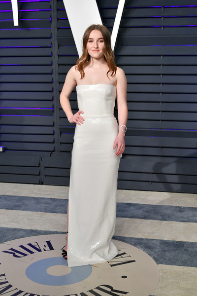 Kaitlyn Dever Strapless Dress [oscar party,vanity fair,dress,clothing,gown,shoulder,white,fashion model,bridal party dress,fashion,haute couture,beauty,beverly hills,california,wallis annenberg center for the performing arts,radhika jones - arrivals,radhika jones,kaitlyn dever]