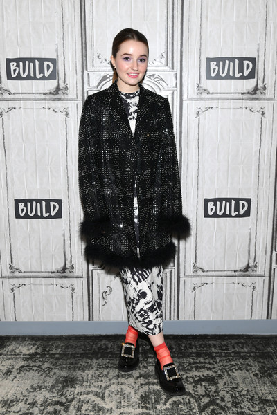 Kaitlyn Dever Evening Coat [celebrities,kaitlyn dever,street fashion,clothing,fashion,outerwear,snapshot,plaid,footwear,black-and-white,design,cool,new york city,build studios]