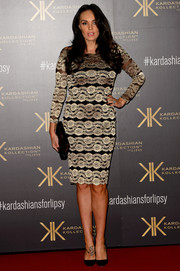 Tamara Ecclestone attended the Kardashian Kollection for Lipsy launch looking elegant in a gold and black lace cocktail dress.