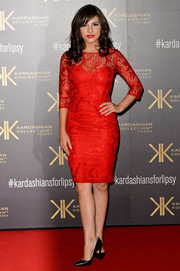 Roxanne Pallett looked very polished in a red lace cocktail dress during the Kardashian Kollection for Lipsy launch.