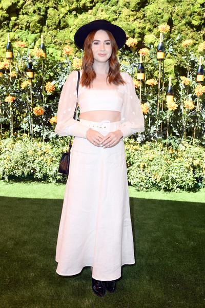Karen Gillan Crop Top [white,clothing,lady,dress,beauty,fashion,botany,formal wear,shoulder,headgear,arrivals,karen gillan,los angeles,pacific palisades,california,will rogers state historic park,veuve clicquot polo classic]