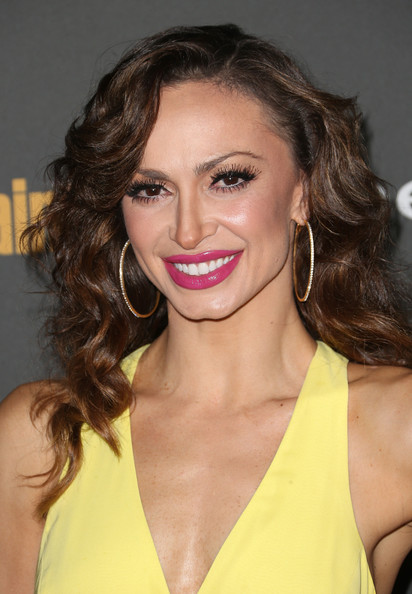 Karina Smirnoff Long Curls [hair,hairstyle,eyebrow,lip,beauty,chin,brown hair,long hair,blond,eyelash,party - arrivals,karina smirnoff,west hollywood,california,fig olive melrose place,entertainment weekly,pre-emmy party]