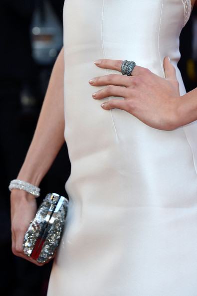 Karlie Kloss Stackable Rings [the immigrant premiere - the 66th annual cannes film festival,white,fashion,nail,dress,street fashion,engagement ring,fashion accessory,jewellery,hand,cocktail dress,karlie kloss,clutch detail,cannes,france,premiere,palais des festivals,cannes film festival]