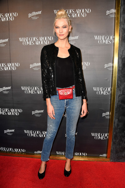 Karlie Kloss Quilted Purse [flooring,fashion,shoulder,fashion model,jacket,outerwear,leather jacket,carpet,leather,denim,arrivals,what goes around comes around one,karlie kloss,beverly hills,california,what goes around comes around]