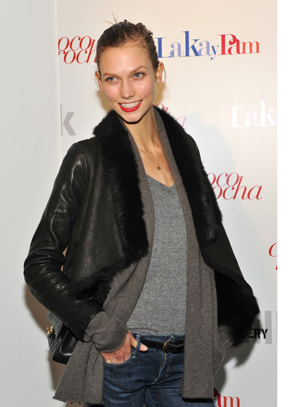 Karlie Kloss Leather Jacket [letters to haiti,letters to haiti,clothing,leather,outerwear,jacket,fashion,hairstyle,leather jacket,fur,textile,black hair,karlie kloss,premiere,milk gallery,new york city,premiere]