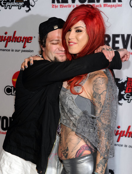Skateboarder TV personality Bam Margera L and tattoo artist Kat Von D