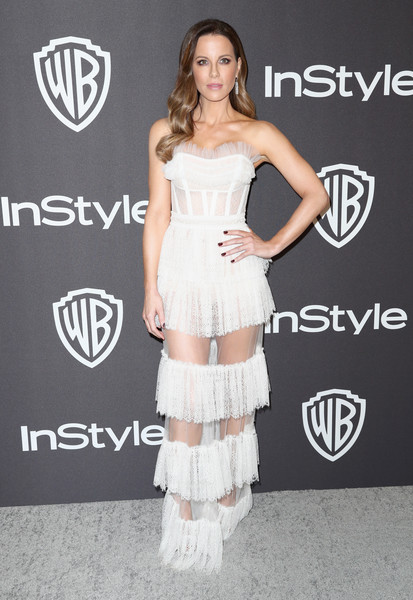 Kate Beckinsale Corset Dress [clothing,dress,white,shoulder,strapless dress,cocktail dress,fashion,joint,carpet,footwear,kate beckinsale,beverly hills,california,the beverly hilton hotel,instyle,golden globes,warner bros.,arrivals,party]