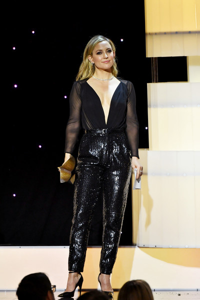 Kate Hudson High-Waisted Pants [fashion model,clothing,fashion show,fashion,runway,event,public event,dress,footwear,fashion design,kate hudson,beverly hills,california,the beverly hilton hotel,writers guild awards,west coast ceremony,kate hudson,handbag,fashion,clothing,sequin,celebrity,actor,trousers,dress]