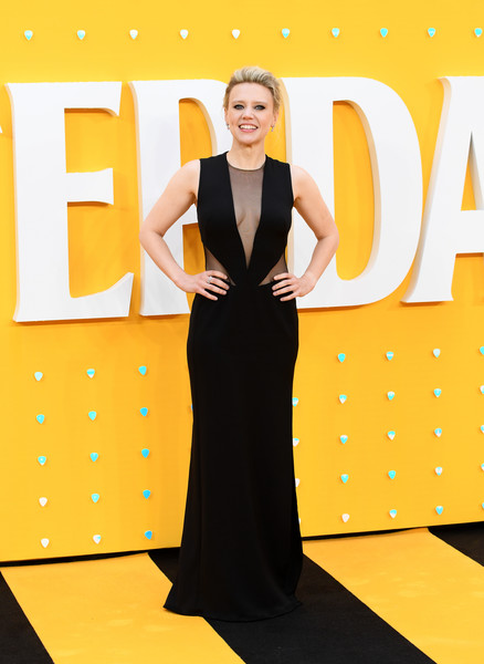 Kate McKinnon Evening Dress [dress,clothing,yellow,fashion model,beauty,flooring,formal wear,fashion,gown,carpet,red carpet arrivals,kate mckinnon,uk,england,london,odeon luxe leicester square,premiere]