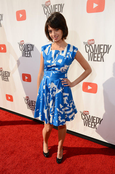 Kate Micucci Pumps [the big live comedy show,youtube comedy week presents,red carpet,clothing,carpet,dress,hairstyle,cocktail dress,flooring,premiere,fashion,shoulder,kate micucci,actress,culver city,california,garfunkel and oates,culver studios,youtube comedy week]