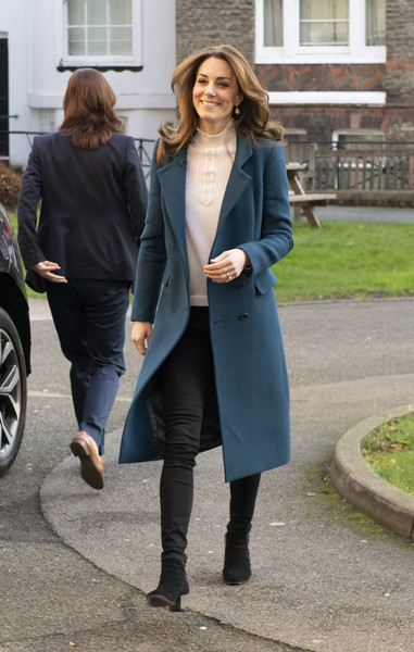 Kate Middleton Ankle Boots [clothing,street fashion,coat,overcoat,outerwear,snapshot,fashion,trench coat,footwear,jeans,jeans,duchess of cambridge,leyf,catherine,duchess,survey,stockwell gardens nursery pre-school,cambridge,leyf stockwell gardens nursery pre-school,launch,blazer,jeans,denim,socialite]