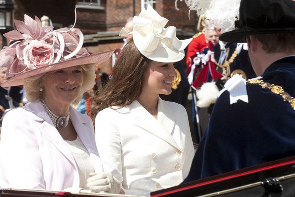 Kate Middleton Decorative Hat [the royal family attend the order of the garter service,tradition,event,hat,headgear,musician,fashion accessory,festival,marching band,elizabeth ii,members,order,duchess,membership,carriage,order,garter service,leave]