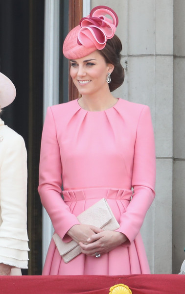 Kate Middleton Cocktail Dress [pink,lady,fashion,hair accessory,headgear,gown,formal wear,girl,magenta,peach,catherine,duchess,fashion,fashion,pink,buckingham palace,cambridge,balcony,trooping the colour,parade,catherine duchess of cambridge,2017 trooping the colour,buckingham palace,british royal family,queens birthday,clothing,fashion,trooping the colour]
