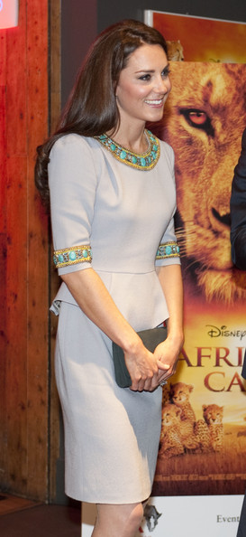 Kate Middleton Cocktail Dress [african cats,hair,clothing,beauty,fashion,dress,hairstyle,lady,neck,fashion model,blond,duke,duchess of cambridge,tusk,aid,duchess,cambridge,uk,african cats - uk premiere,premiere]