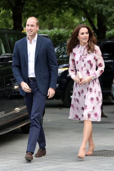 Kate Middleton Print Dress [suit,fashion,standing,outerwear,girl,formal wear,flooring,jeans,shoe,coat,harry celebrate world mental health day,prince william,catherine,duchess,cambridge,london eye,england,the duke duchess of cambridge,london eye with heads together,celebration]