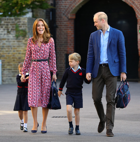 Kate Middleton Print Dress [first day of school,people,fashion,walking,standing,footwear,event,outerwear,street fashion,holding hands,gentleman,mother,prince william,prince george,catherine middleton,cambridge.at thomas,princess,duchess,princess charlotte,cambridge,catherine duchess of cambridge,prince william duke of cambridge,thomass battersea,diana princess of wales,school,princess,wedding of prince william and catherine middleton,british princess]