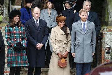 Kate Middleton Prince William Members of the Royal Family Attend St Mary Magdalene Church in Sandringham
