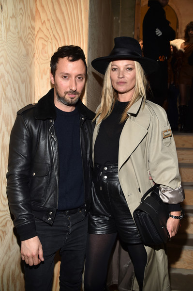 Kate Moss High-Waisted Shorts [fashion,outerwear,textile,facial hair,flooring,leather jacket,material,product,jacket,event,kate moss,anthony vaccarello,front row,part,paris,france,saint laurent,paris fashion week womenswear fall]