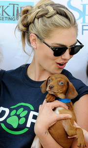 Kate Upton went for boho cuteness with this braided updo at the Grand Slam Adoption event.