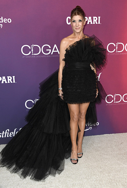 Kate Walsh Evening Sandals [dress,clothing,shoulder,fashion model,cocktail dress,little black dress,fashion,hairstyle,joint,leg,arrivals,kate walsh,costume designers guild awards,beverly hills,california,the beverly hilton hotel,cdga]