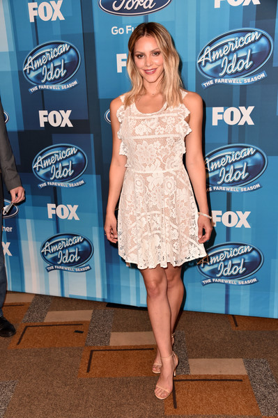 Katharine McPhee Lace Dress [american idol finale for the farewell season,clothing,dress,cocktail dress,fashion,shoulder,electric blue,premiere,footwear,event,long hair,arrivals,katharine mcphee,california,hollywood,dolby theatre,fox]