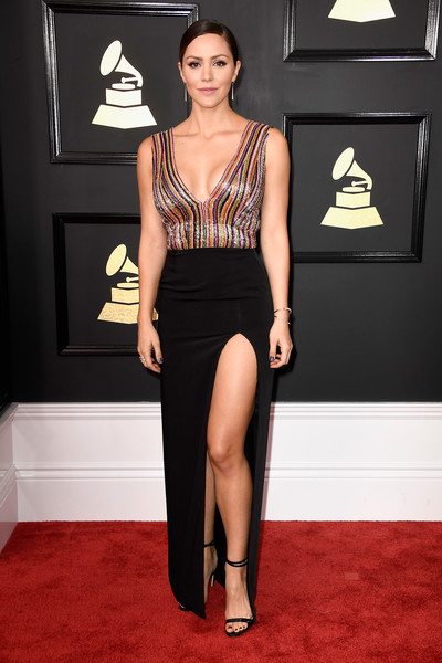Katharine McPhee Strappy Sandals [clothing,fashion model,carpet,dress,red carpet,shoulder,fashion,cocktail dress,leg,hairstyle,arrivals,katharine mcphee,actor,grammy awards,staples center,los angeles,california,the 59th grammy awards]