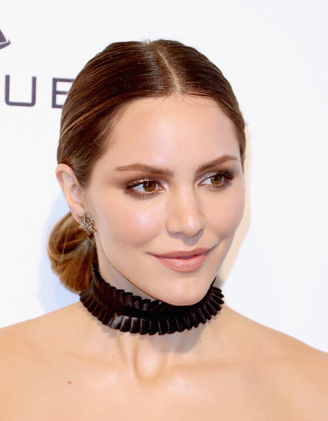 Katharine McPhee Chignon [hair,face,hairstyle,eyebrow,skin,chin,lip,necklace,cheek,beauty,arrivals,katharine mcphee,west hollywood park,california,the city,elton john aids foundation,oscar viewing party,academy awards viewing party]