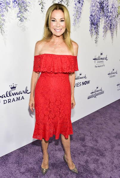 Kathie Lee Gifford Evening Pumps [red carpet,clothing,dress,cocktail dress,shoulder,strapless dress,premiere,hairstyle,long hair,carpet,joint,kathie lee gifford,summer tca,residence,beverly hills,california,hallmark channel]