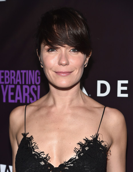 Katie Aselton Classic Bun [p.s.,the party - arrivals,hair,hairstyle,bangs,eyebrow,chin,lip,black hair,brown hair,shoulder,dress,katie aselton,arts,neuehouse hollywood,los angeles,california,the party]