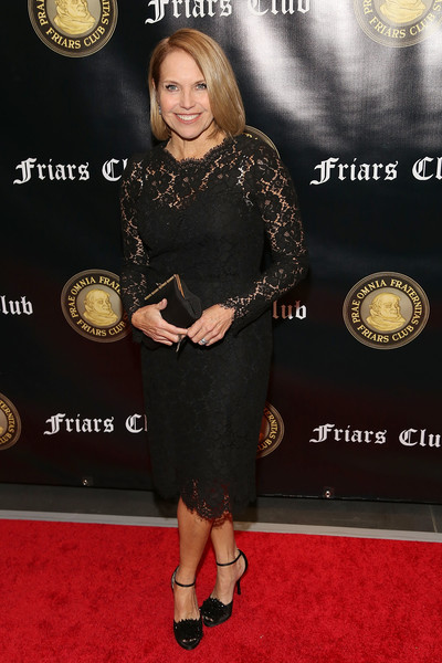 Katie Couric Lace Dress [billy crystal with entertainment icon award,red carpet,dress,carpet,little black dress,flooring,premiere,award,award ceremony,cocktail dress,billy crystal,honors,katie couric,entertainment icon award,new york city,the ziegfeld ballroom,friars club]