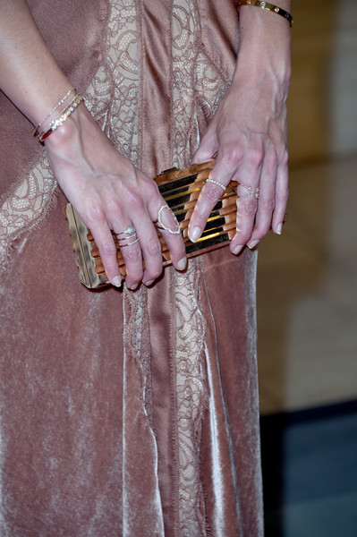 Katie Holmes Diamond Bracelet [the kennedys,camelot,the kennedys after camelot,dress,fashion,hand,yellow,nail,haute couture,textile,photography,fashion accessory,beige,jewelry,katie holmes,arrivals,detail,reelz,premiere,premiere]