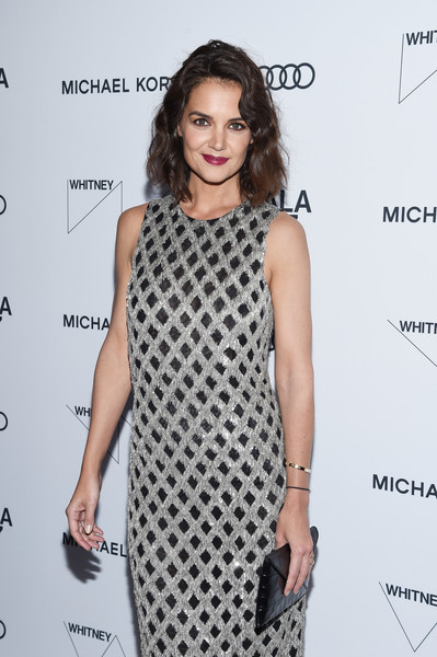 Katie Holmes Envelope Clutch [clothing,dress,fashion model,cocktail dress,hairstyle,fashion,black-and-white,neck,long hair,shoulder,whitney museum celebrates annual spring gala,katie holmes,whitney museum,new york city,studio party,spring gala]