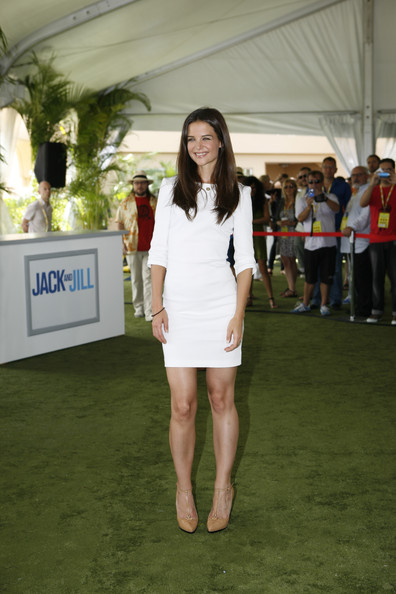 Katie Holmes Mini Dress [handout photo,jack and jill,clothing,fashion,leg,thigh,event,red carpet,dress,flooring,human leg,fashion design,celebrities,katie holmes,photocall,mexico,cancun,sony pictures entertainment]