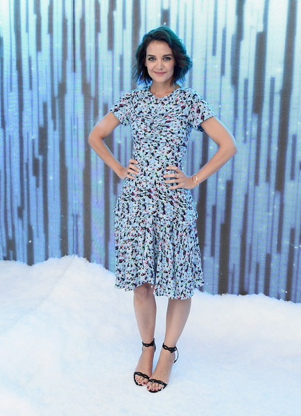 Katie Holmes Print Dress [the launch,clothing,fashion model,blue,fashion,dress,day dress,fashion design,fashion show,electric blue,footwear,katie holmes,glenda bailey,partnership,it list townhouse in partnership with american express,new york city,saks,harpers bazaar,american express,launch]
