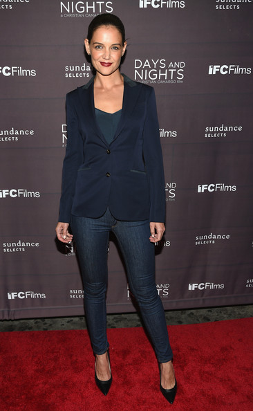 Katie Holmes Pumps [days and nights,clothing,suit,pantsuit,formal wear,outerwear,tuxedo,blazer,footwear,carpet,premiere,katie holmes,days and nights premieres,nyc,ifc center,premiere]