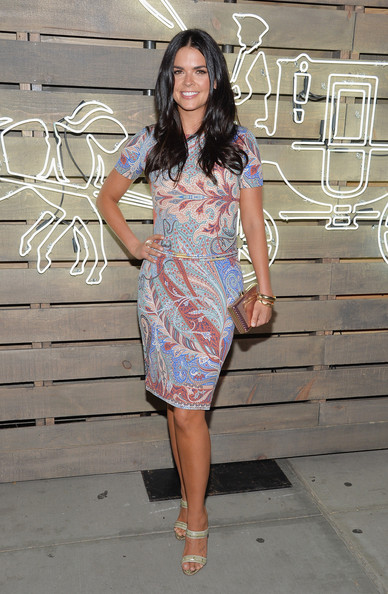 Katie Lee Print Dress [clothing,dress,fashion model,cocktail dress,fashion,shoulder,footwear,leg,waist,day dress,coach,katie lee,author,new york city,the highline,friends of the highline,summer party]