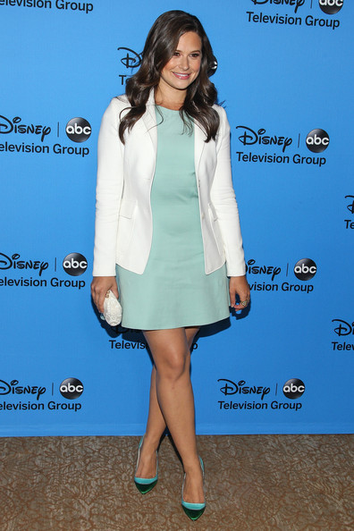 Katie Lowes Blazer [clothing,cocktail dress,dress,leg,fashion,footwear,carpet,outerwear,premiere,formal wear,katie lowes,arrivals,beverly hills,california,the beverly hilton hotel,abc television group,disney,2013 summer tca tour]