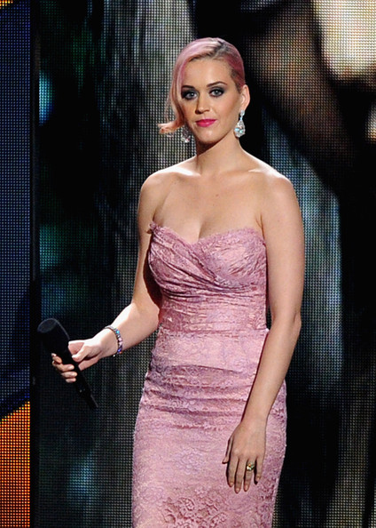 Katy Perry Gemstone Bracelet [music,dress,clothing,shoulder,cocktail dress,strapless dress,beauty,fashion,lady,fashion model,hairstyle,katy perry,grammy,countdown,los angeles,california,nokia theatre l.a. live,concert,show]