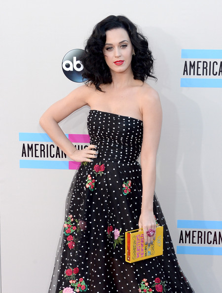 Katy Perry Hard Case Clutch [dress,clothing,strapless dress,shoulder,polka dot,fashion,gown,cocktail dress,a-line,waist,arrivals,katy perry,american music awards,nokia theatre l.a. live,los angeles,california]