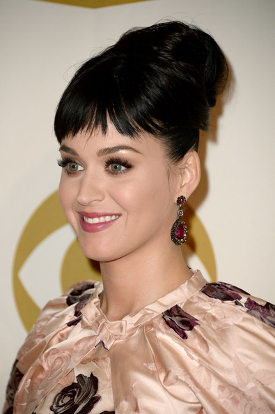 Katy Perry Dangling Gemstone Earrings [katy perry,arrivals,the night that changed america: a grammy salute to the beatles,hair,beauty,skin,human hair color,hairstyle,eyebrow,lady,girl,fashion model,smile,los angeles convention center,los angeles,california]