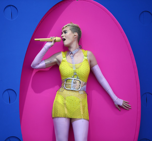 Katy Perry Beaded Dress [performance,yellow,singer,pink,shoulder,stage,performing arts,fun,music artist,event,katy perry,carson,california,stubhub center,kiis fm,wango tango - show]