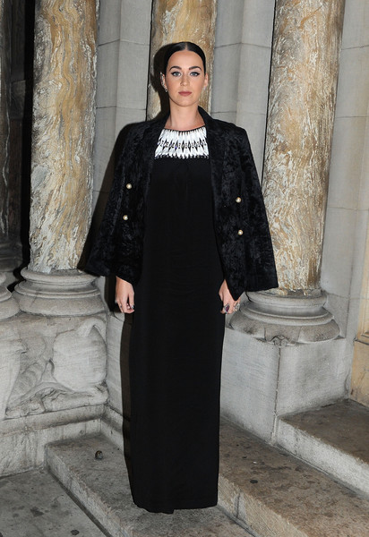 Katy Perry Evening Dress [clothing,black,fashion,dress,outerwear,formal wear,sleeve,haute couture,street fashion,coat,katy perry,fortuna desperata,opening night,new york city,st barts cathedral]